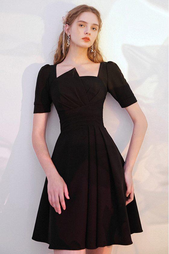 Modest Little Black Dress Short Sleeved with Ruffles - HTX96012