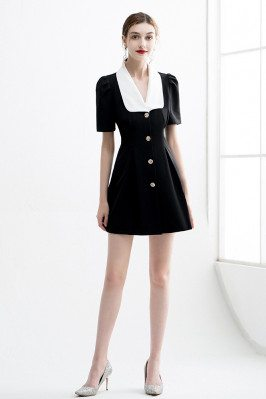 Office Chic Little Black Dress with Sleeves White Collar - HTX96035