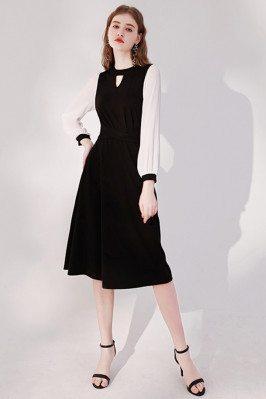 Elegant Knee Length Black Party Dress with Keyhole Round Neck - HTX96018