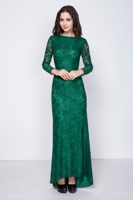 Full Lace Long Sleeve Evening Dress