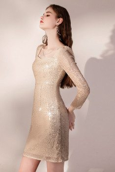 Shinning Gold Sequined Bodycon Party Dress Cross Neckline with Long Sleeves - HTX96027