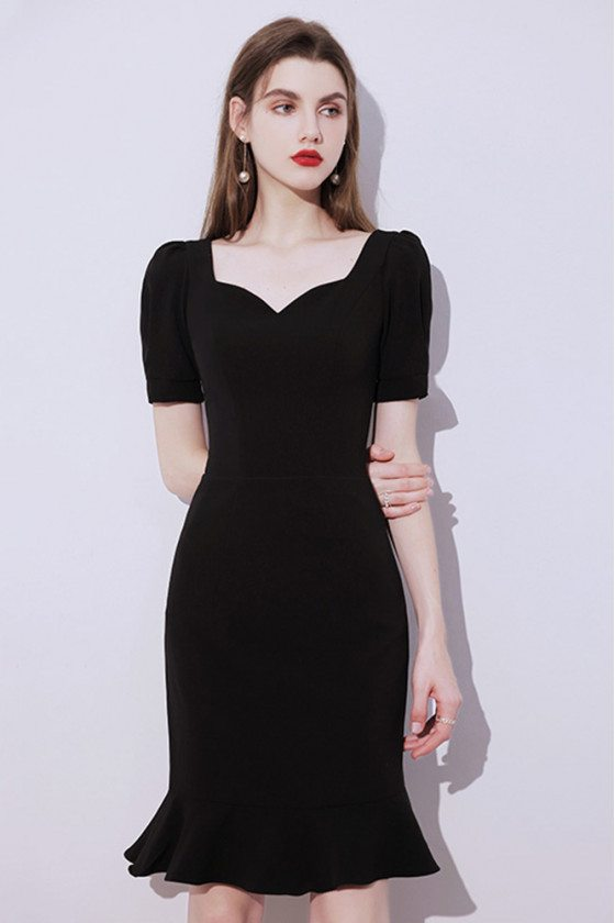 Gorgeous Little Black Cocktail Dress Mermaid with Short Sleeves - HTX96005