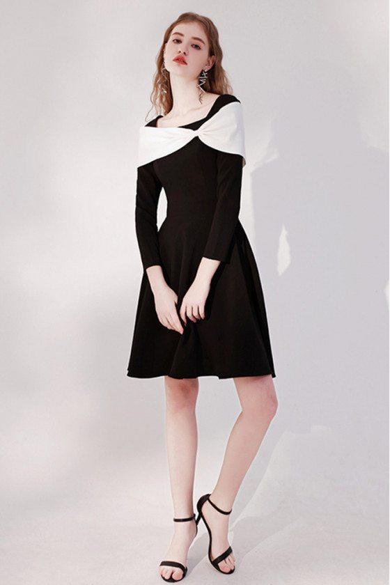 Retro Black Short Party Dress Elegant with Long Sleeves - HTX96017