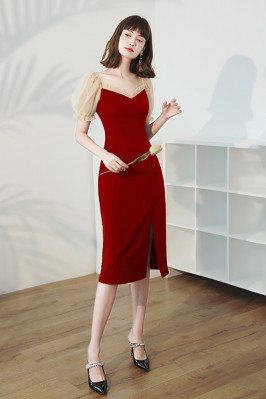 Burgundy Red Slim Wedding Party Dress with Bubble Sleeves - HTX96031
