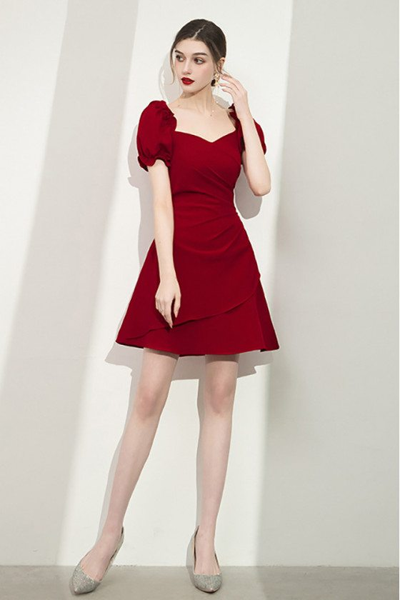 Burgundy Aline Short Semi Party Dress with Bubble Sleeves - HTX96048