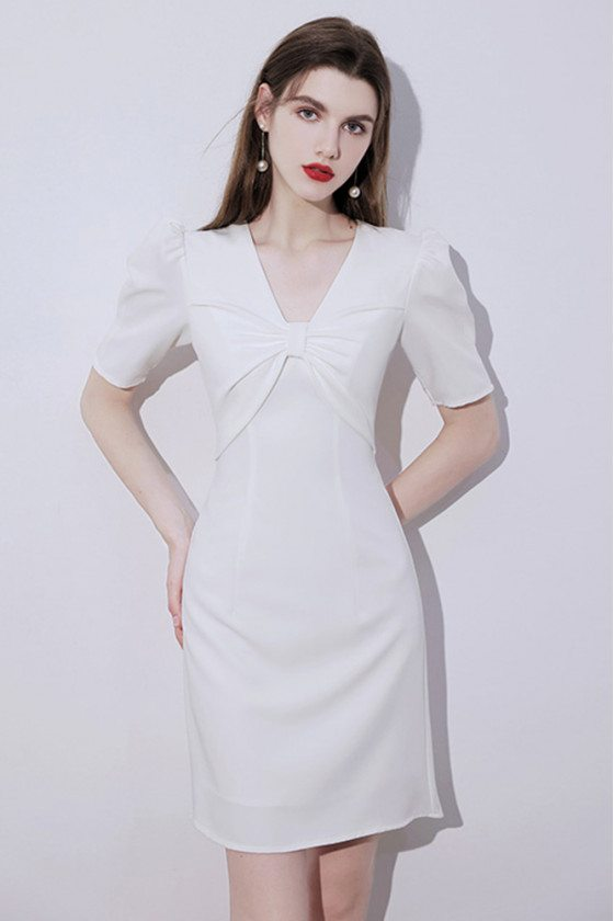 Little White Short Homecoming Party Dress Vneck with Bubble Sleeves - HTX96006