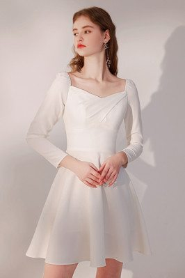 Elegant Little White Party Dress Pleated Square Neckline with Sleeves - HTX96020