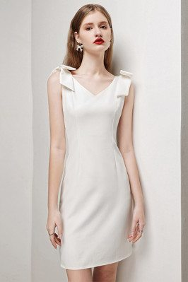 Little White Bow Knot Straps Sheath Cocktail Party Dress Sleeveless - HTX96010