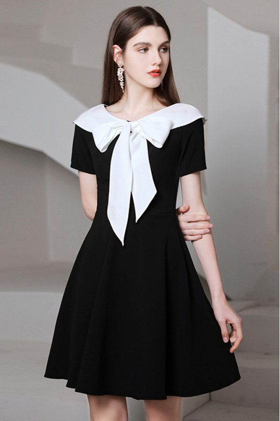 Romantic Bow Knot Black And White Semi Party Dress with Short Sleeves - HTX96002