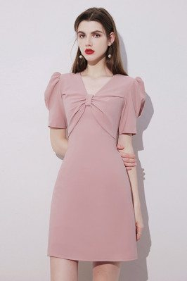 Cute Pink Short Homecoming Party Dress Vneck with Bubble Sleeves - HTX96004