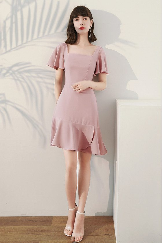 Simple Square Neckline Short Pink Party Dress Fishtail with Ruffles - HTX96039
