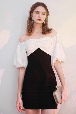 Black And White Cocktail Party Dress with Off Shoulder Sleeves - HTX96011