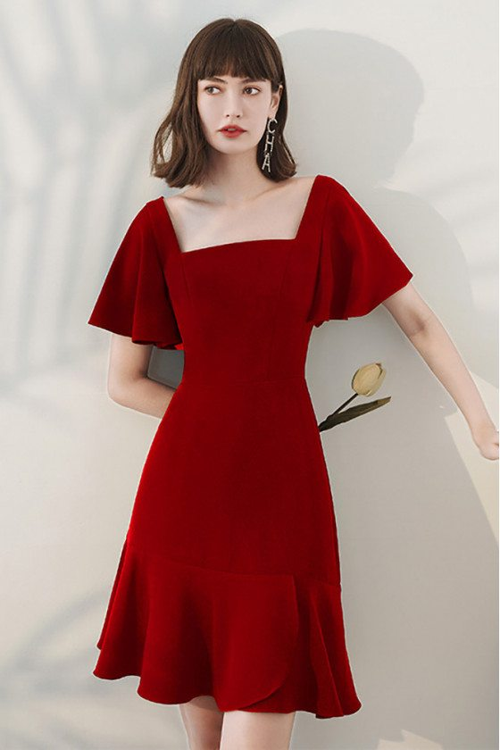 Trendy Square Neckline Simple Burgundy Party Dress with Ruffles Sleeves - HTX96041