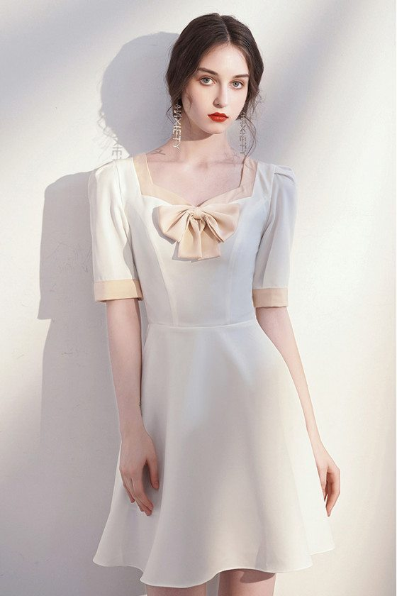 French Elegant White Aline Party Dress with Bow Knot Short Sleeves - HTX96052