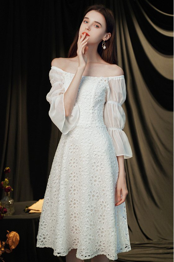 White Lace Square Neckline Elegant Hoco Party Dress with Bubble Sleeves - HTX96029
