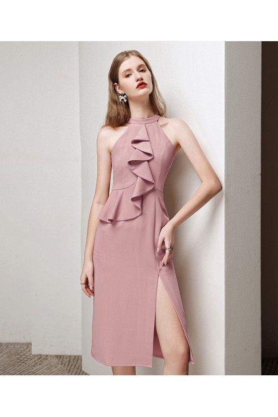 Elegant Pink Short Halter Party Dress Split Front with Ruffles - HTX96009