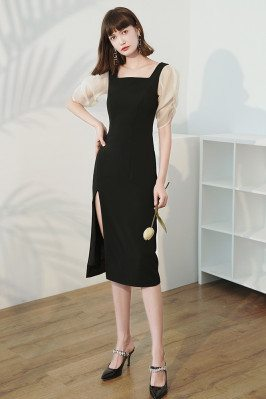Elegant Square Neckline Sheath Party Dress Black with Bubble Sleeves - HTX96040