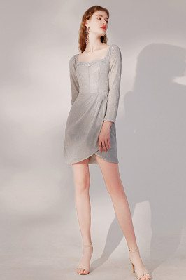 Elegant Bling Grey Ruffle Party Dress Sleeved with Square Neckline - HTX96022