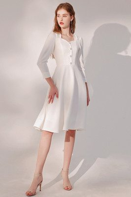 Retro Long Sleeved Knee Length Party Dress with Flower Buttons - HTX96021