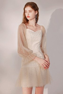 Champagne Sequined Short Homecoming Dress Bling with Long Sleeves - HTX96019