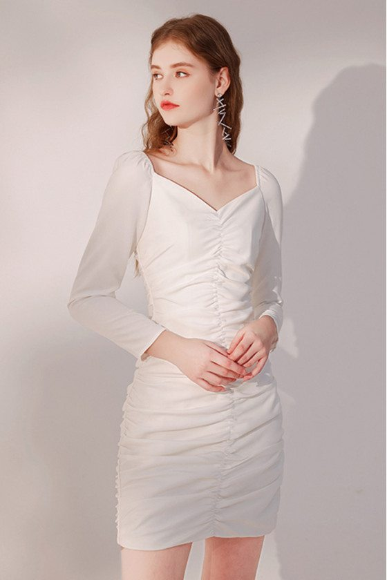 Pretty Slim Fit Little White Party Dress with Long Sleeves - HTX96025