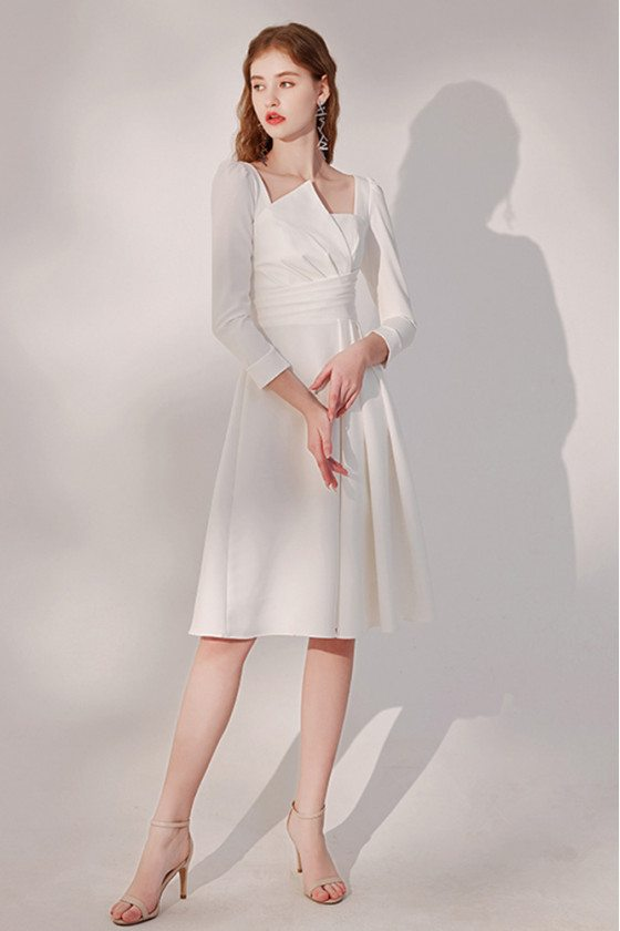 Elegant Pleated White Knee Length Party Dress with Sleeves - HTX96023