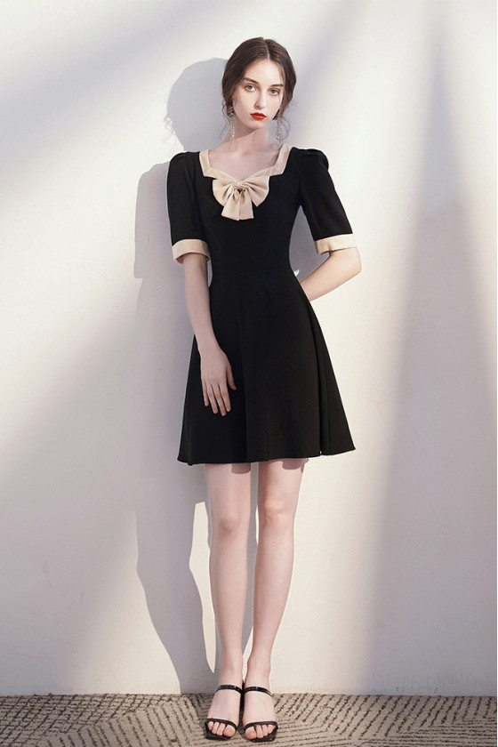 Retro Chic Bow Knot Little Black Party Dress with Square Neckline - HTX96049