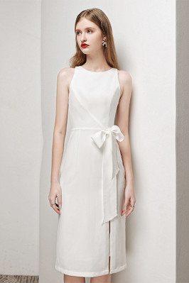 Elegant White Party Dress Sleeveless with Side Split Sash - HTX96014