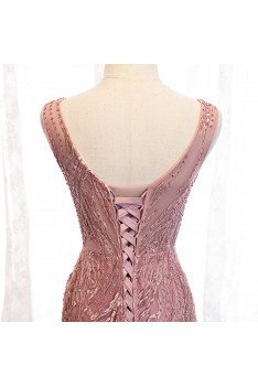 Pink Vneck Mermaid Fitted Prom Dress with Beaded Appliques - MX16011