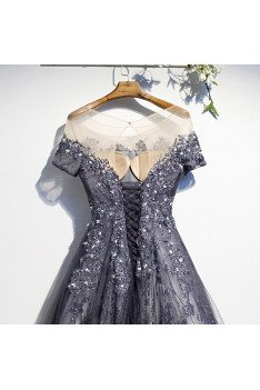 Popular Blue Sequined Tulle Prom Dress Aline with Illusion Sleeves - MX16005