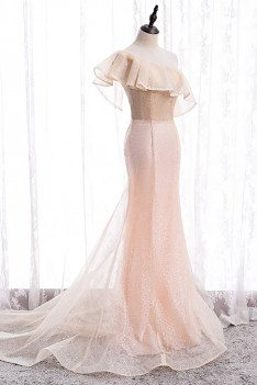 Pink Bling Mesh Formal Dress Mermaid with One Shoulder - MX16073