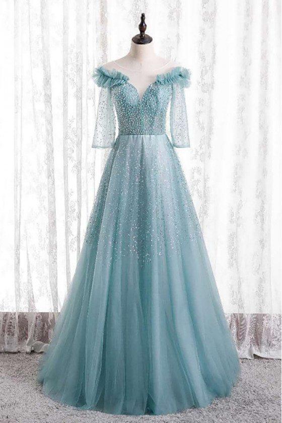 Beaded Long Tulle Gorgeous Prom Dress with Sheer Sleeves - MX16118