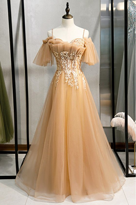 Long Tulle Champagne Beaded Prom Dress with Straps Appliques - MX16063