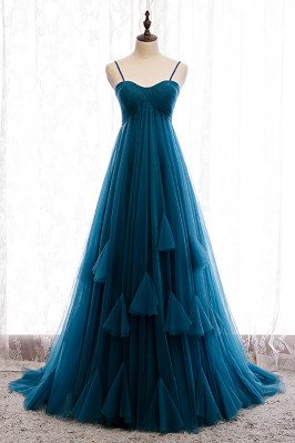 Simple Ink Blue Empire Long Formal Dress Tulle with Spaghetti Straps - MX16030