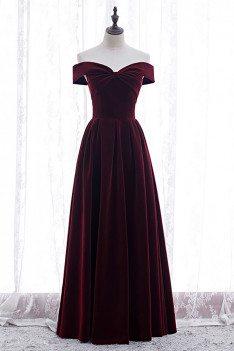 Formal Long Elegant Velvet Party Dress Off Shoulder - MX16042