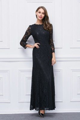 Black High Neck Lace Sleeve...