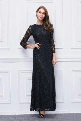 Black High Neck Lace Sleeve...