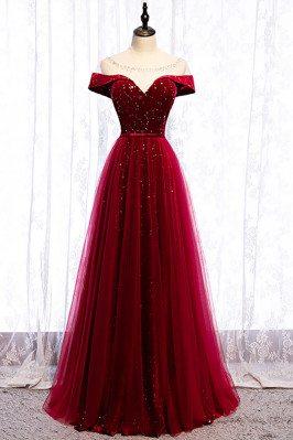 Burgundy Formal Long Prom Dress with Stars Illusion Neckline - MX16006