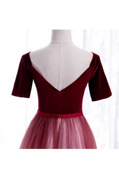 Burgundy White Ombre Tulle Special Occasion Dress with Short Sleeves - MX16069
