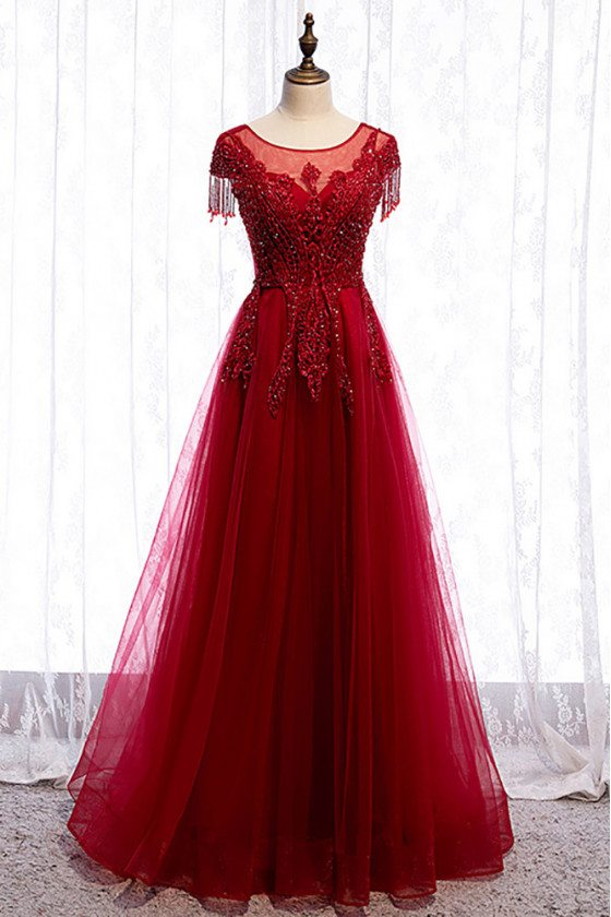 Modest Burgundy Aline Tulle Formal Dress Round Neck with Appliques - MX16021
