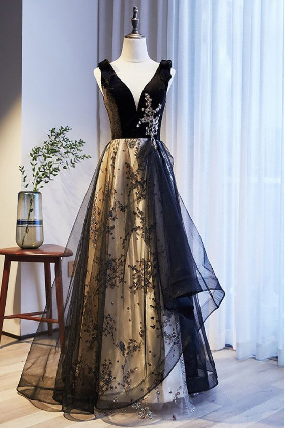 Black Vneck Ruffled Tulle Prom Dress with Sequined Pattern - MX16128