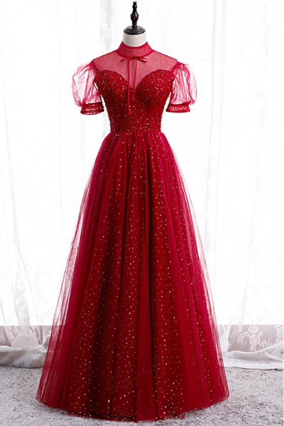 Burgundy Sequined Prom Dress Illusion Neckline with Bling Sleeves - MX16026