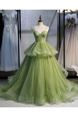Stunning Green Corset Prom Dress Ruffled Tulle with Straps Long Train - MX16032