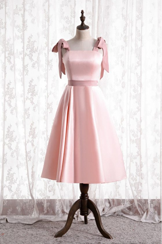 Cute Pink Satin Tea Length Hoco Dress with Strappy Straps - MX16132