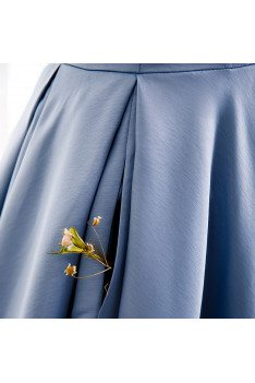 Elegant Blue Satin Formal Dress Ruffled with Beadings - MX16104