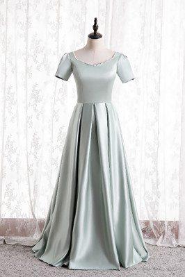 Elegant Beaded Satin Formal Dress Pleated with Short Sleeves - MX16133
