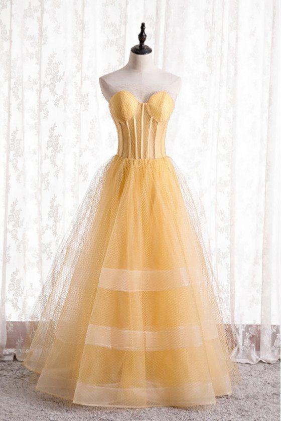 Yellow Mesh Tulle Corset Prom Dress Ballgown Strapless - MX16121