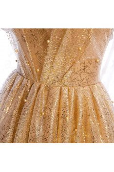 Formal Bling Gold Sequins Prom Dress Beaded with Bubble Sleeves - MX16094