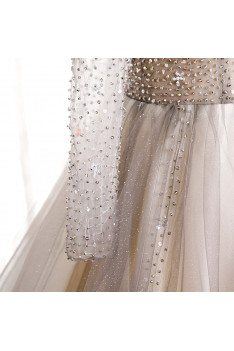 Formal Long Tulle Prom Dress Ballgown with Sequined Long Sleeves - MX16097