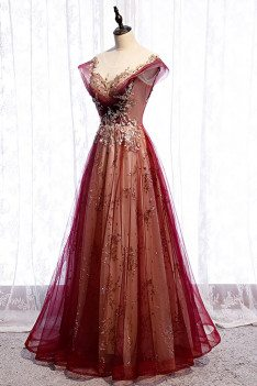 Burgundy Formal Prom Dress with Bling Gold Sequins Cap Sleeves - MX16008